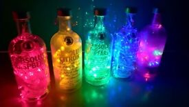 Handmade DIY Bottle Lamps Available in Different Colours Battery Powered Absolut