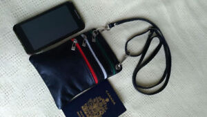 NEW Leather crossbody bag/ pouch/ waist fanny purse from ITALY.