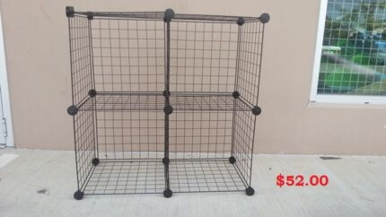 New Black/White/Gray Stacking Wire Cube Storage Rack