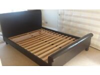 King size brown faux leather bed frame