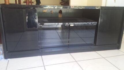 TV Unit -  Glass Top and Gloss Black