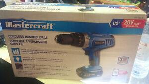 Mastercraft 20V Max Li-Ion Cordless Hammer Drill, 1/2-in NEW