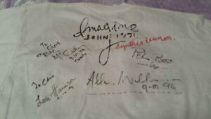 John Lennon Hand painted T Shirt Signed by Beatle Celebrities