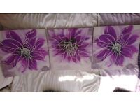 3 purple flower canvases