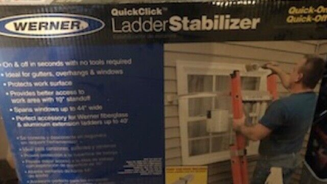 Werner Ladder Stabilizer - Quick Click - Keeps Ladder off the wall/no mark