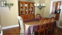 Dinning Table with 6 Chairs and Buffet Hutch