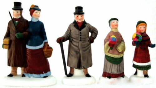 Dept 56/LEMAX-LIKE~RETIRED PORCELAIN CHELSEA SHOPPERS 4-PC SET~COMPLETE~PERFECT