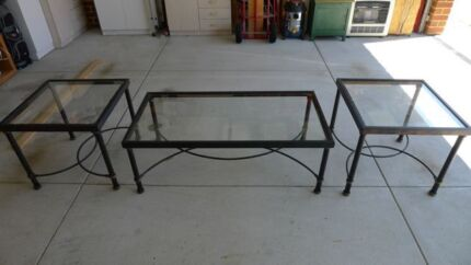 Coffee Table with 2 Side Tables to match (Glass & Iron) Rockingham Rockingham Area Preview