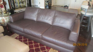 ALL LEATHER SOFA  BROWN