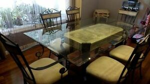 Beautiful dining table with glass top