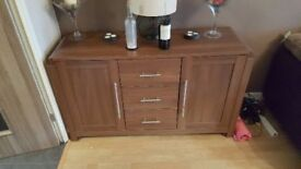 3 walnut sideboards and coffee table for sale