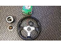 Momo italy steering wheel with boss kit full set up come off vw will fit most cars