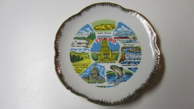 Vintage Idaho State Attractions Scene Souvenir / Collector Plate, 7 3/8 in.