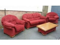 Terracotta Fabric Three Piece Suite Plus Matching Coffee Table - In Excellent Condition