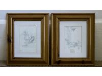 Winnie the Pooh pencil sketches in pine frames
