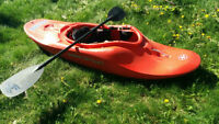 Whitewater kayak for large paddler also fits in pickup truck box