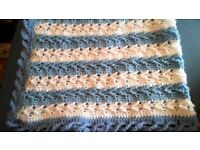 Hand made knitted crochet baby blanket boys NEW