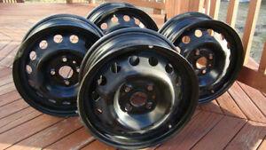 "4-Rims 4X100-14"" (Jantes) Black Steel Wheels"