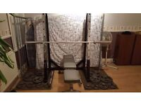 Squat rack and olimpic weights set