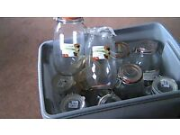 2 litre glass preserving jars . some unused