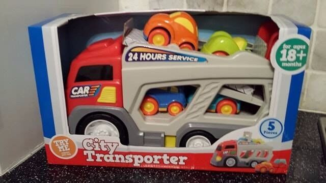 Brand New City Transporter Truck and 4 Cars