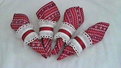 Luncheon Napkin Red Print Handmade Eyelet Ring To Match Set 4 Cotton Blend 11x11 - Napkin Printing