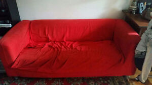 Red sofa $10 Material zips off and can be washed come quick