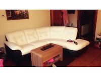 Dfs white and black leather corner sofa couch with electric reclining chair