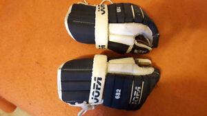 "Vintage JOFA 682 Hockey Gloves, Medium 12"" Lgth, Black/White"
