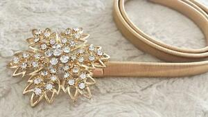 Brand New Stretchy Gold Swarovski Crystal Flower Belt