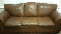 Used Great condition 2 brown leather couchs