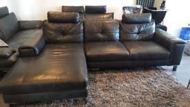 #Reduced in price# Black Leather Corner Sofa 3 Seater