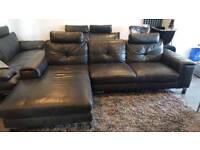 #Reduced in price# Black Leather Corner Sofa 3 Seater