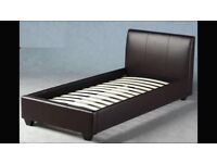 Dark brown leather 3' single bed headboard and frame