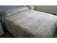 King size quilted bed cover/throw.blue and beige