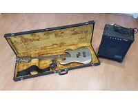 Marlin Sidewinder Bass guitar setup with case