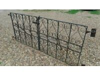 Pair wrought iron gates, for driveway or other access: high quality.