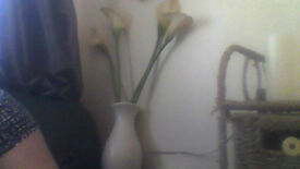 cream vase of 4 peace lilly flowers in good condition look really elegant
