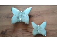 2 butterfly wall vase ornaments in duck egg blue and 22kt gold edging