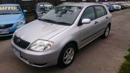 2003 Toyota Corolla ZZE122R Ascent Seca Silver 5 Speed Manual Hatchback Maidstone Maribyrnong Area Preview