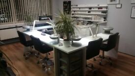 white solid desk nail salon