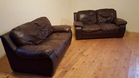 Large Brown 2+2 Seater Leather Sofas
