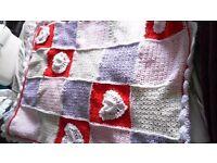 Hand knitted crochet baby blanket