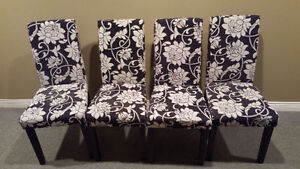 4 Black/White Floral Accent Chairs $150 OBO Cambridge Kitchener Area image 1