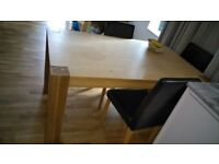 Heart of House Alston Dining Table and 4 Chairs - Oak/Black