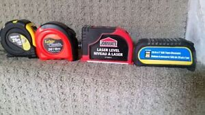 25 feet Tape Measure and job mate laser level call 519-673-9819 London Ontario image 1