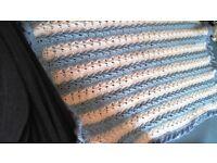 Hand knitted crochet baby blanket boys NEW