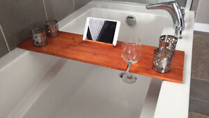Bath caddy with Ipad/iphone stand and wine glass holder