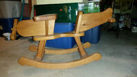 Hand-Crafted Wooden Airplane Rocking Chair