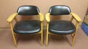 Pair of Leather Wooden Chairs